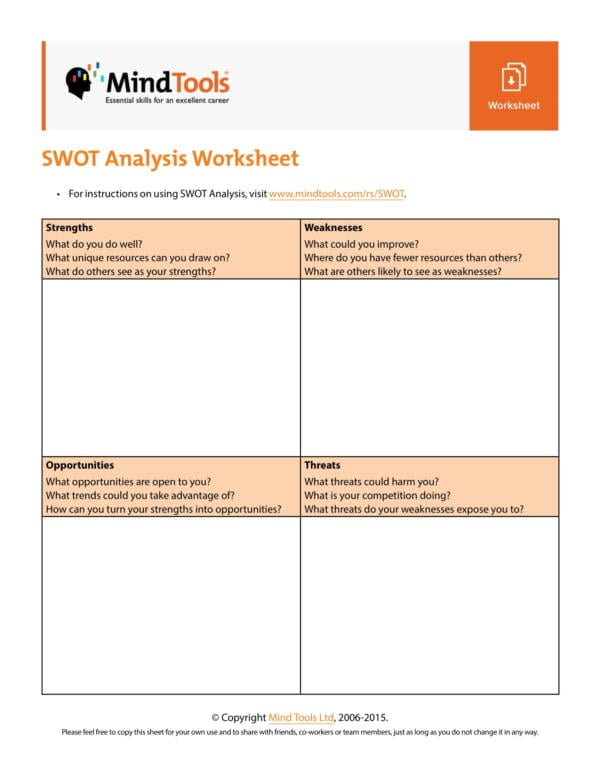 SWOT Analysis Worksheet Template 1 for Student Swot Analysis Template Pdf Word