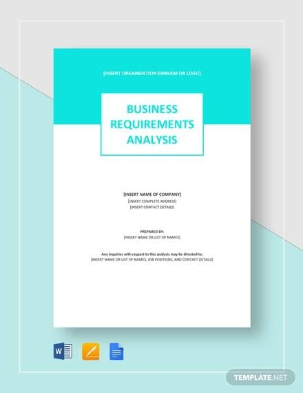 Sample Business Requirements Analysis for Requirement Analysis