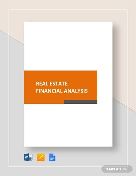 Sample Real Estate Financial Analysis for Sample Financial Analysis