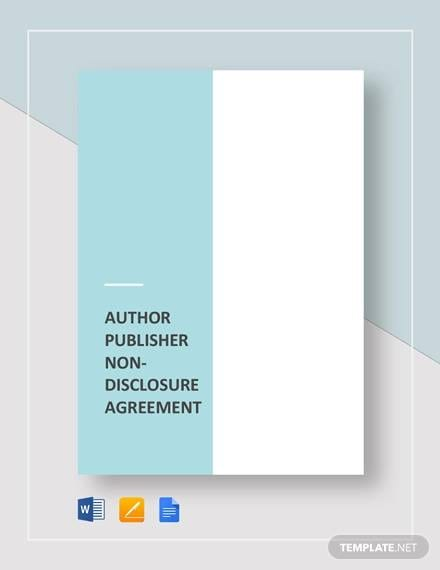 Author Publisher Non Disclosure Agreement Template 1