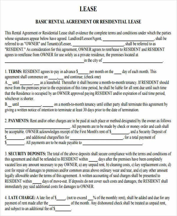 Basic Residential Lease Agreement