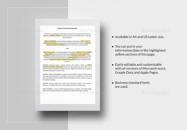 Business Investment Agreement Template 1