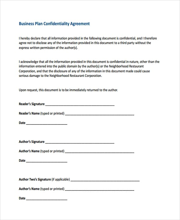 Business Plan Confidentiality Agreement