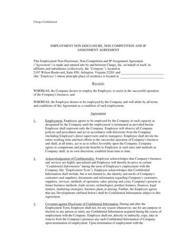Enployement Non Disclosure And Non Compete Agreement Sample 1