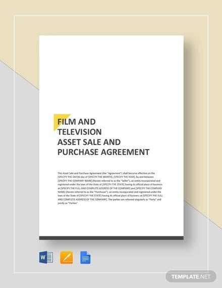 Film Television Asset Sale And Purchase Agreement Template For Purchase And Sales Agreement