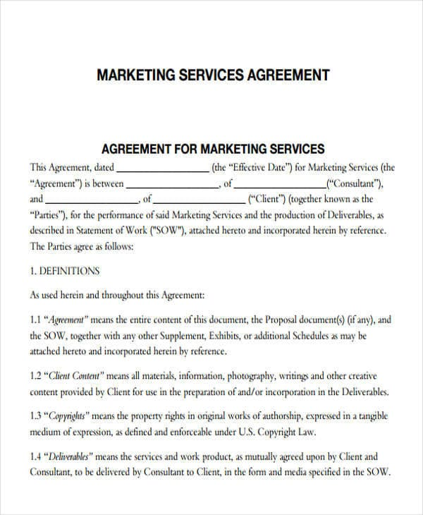 Marketing Services Agreement 1