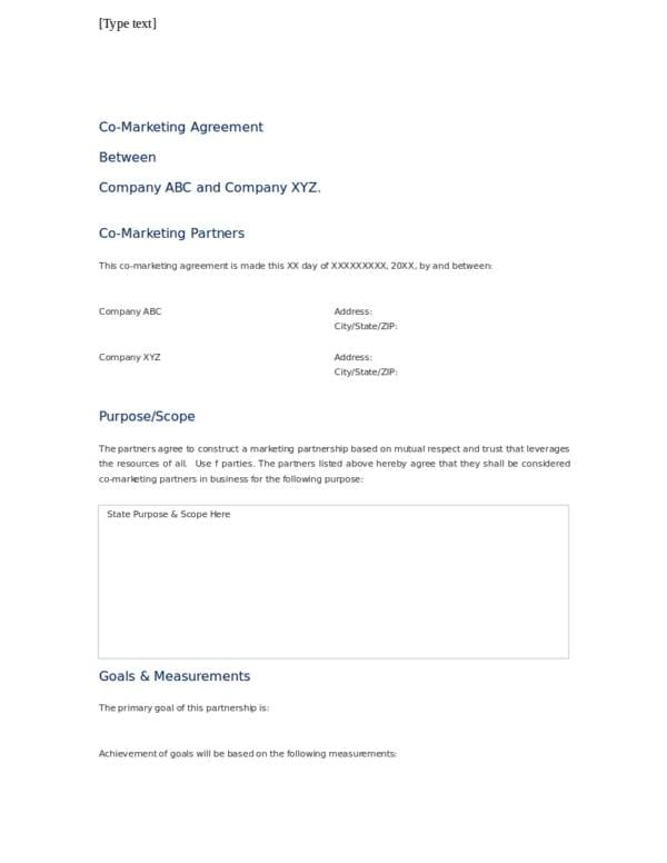 Partnership Marketing Agreement Template For Advertising Marketing Agreement Template