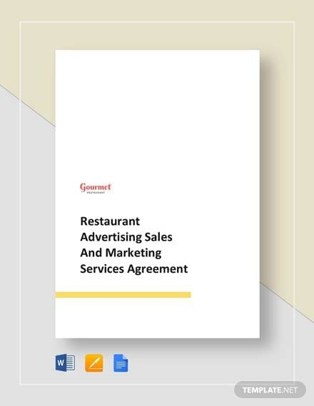 Restaurant Advertising Sales And Marketing For Advertising Marketing Agreement Template