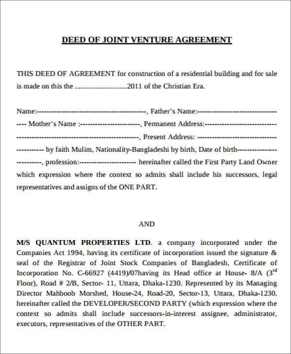 Sample Deed of Joint Venture Agreement for Joint Venture Agreement Samples And Templates