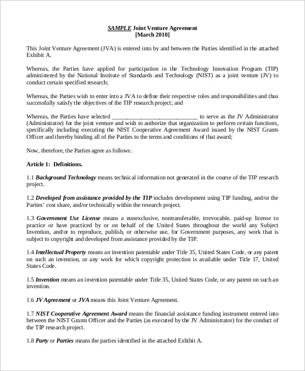Sample Joint Venture Agreement for Joint Venture Agreement
