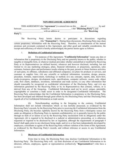 Sample Nondisclosure Agreement Template 1