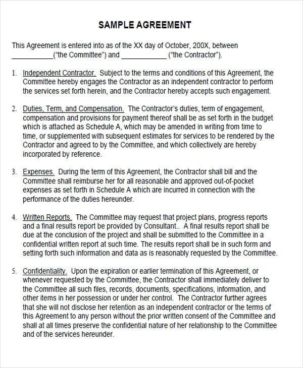 Sample Operating Contract Agreement
