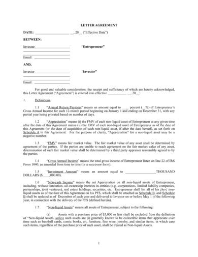 Sample Personal Investment Contract Agreement 1 for Sample Investment Agreement