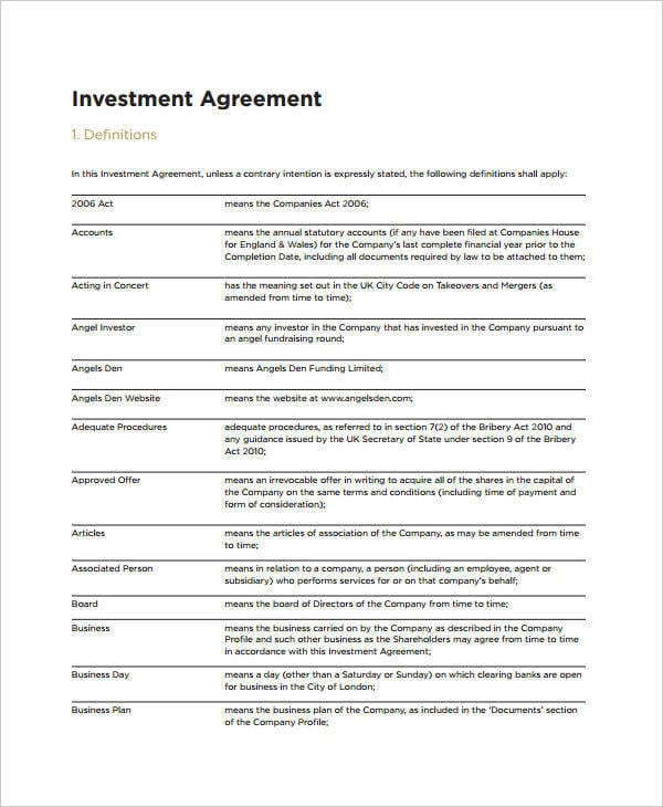 Small Business Investment for Investment Agreements