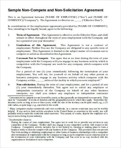 Small Business Non Compete Agreement 1