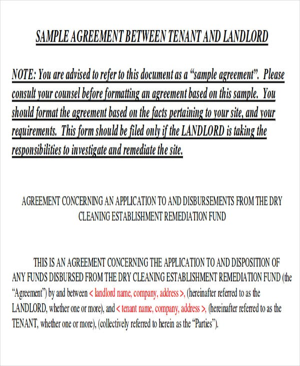 Tenancy Memorandum of Agreement Format
