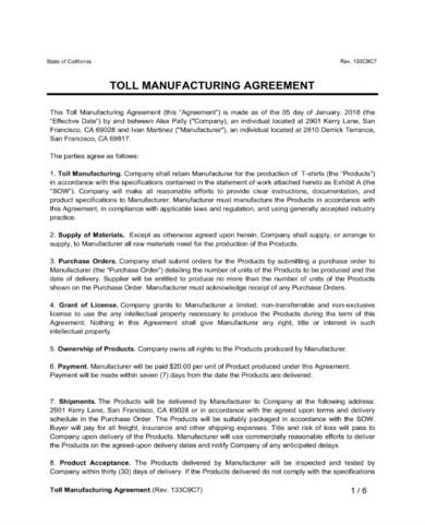 Toll Manufacturing Agreement Sample 1