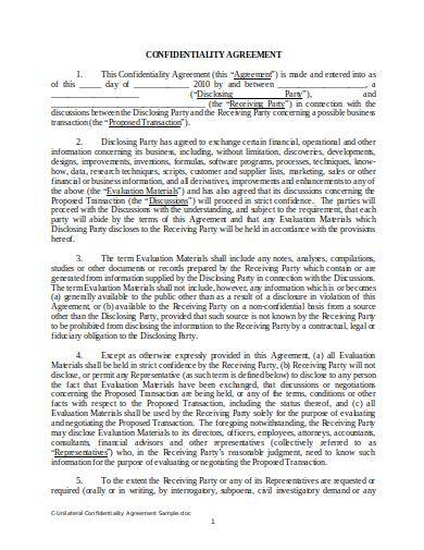 Unilateral Confidentiality Agreement Sample