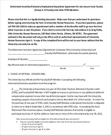 Voluntary Employment Separation Agreement 1