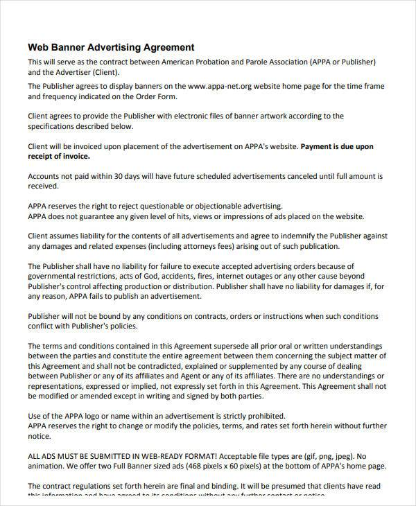Web Banner Advertising and Marketing Agreement for Advertising Marketing Agreement Template