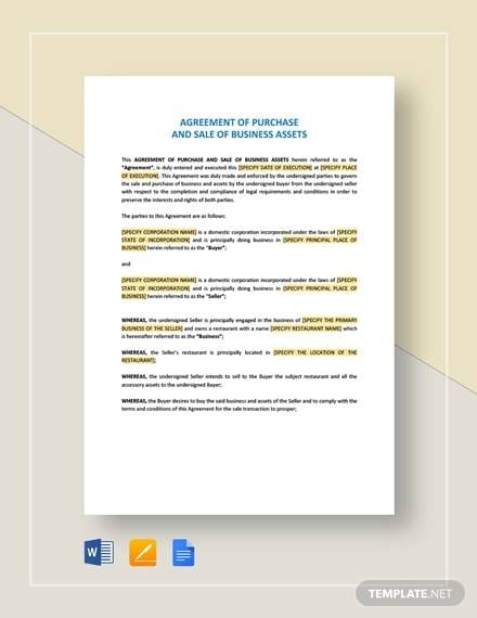 Agreement On Purchase And Sale Of Business Asset For Purchase And Sales Agreement