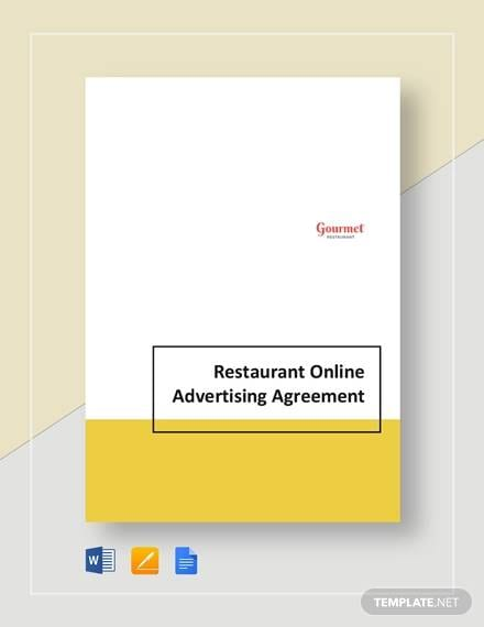 Restaurant Online Advertsing For Advertising Marketing Agreement Template