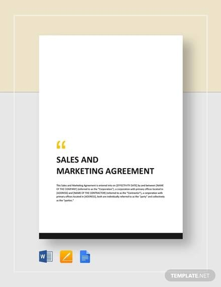 Sales And Marketing Agreement For Advertising Marketing Agreement Template