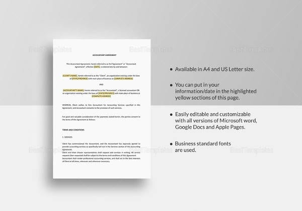 Accountant Agreement Word Template For Business Investment Agreements