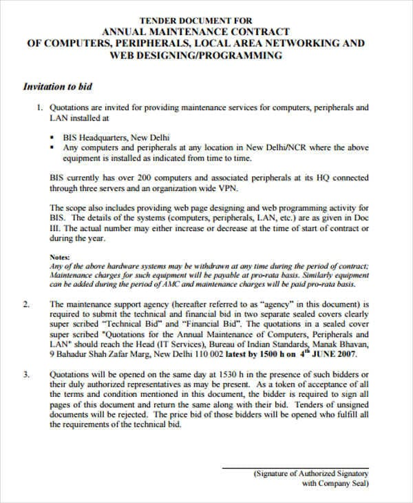 Annual Maintenance Contract Agreement For Maintenance Agreement
