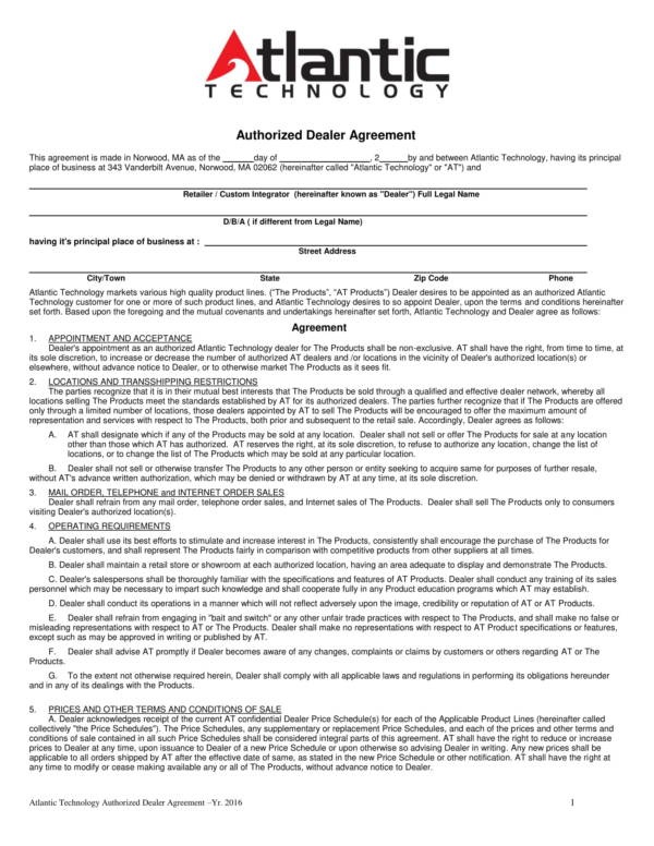 Authorized Dealer Agreement Of Technical Products For Dealership Agreement