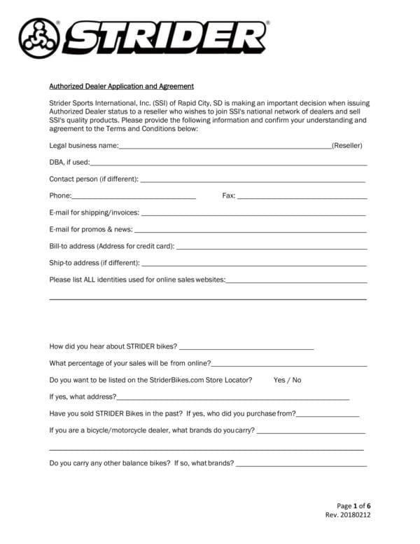 Authorized Dealer Application And Agreement For Dealership Agreement