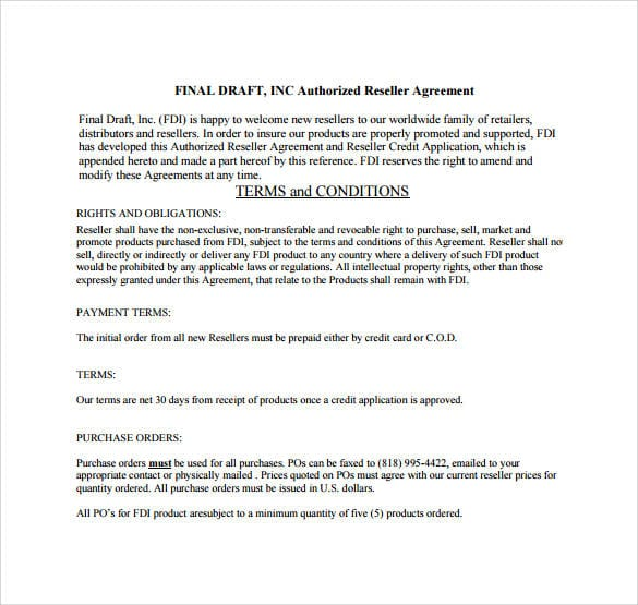 Authorized Reseller Agreement Final Draft For Reseller Agreement 1