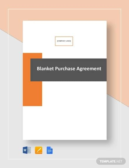 Blanket Purchase Agreement Template for Purchase Agreement Sample
