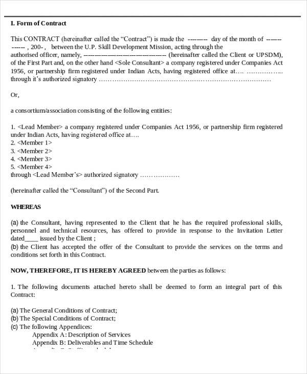 Business Consulting Agreement Contract For Consulting Agreement Examples