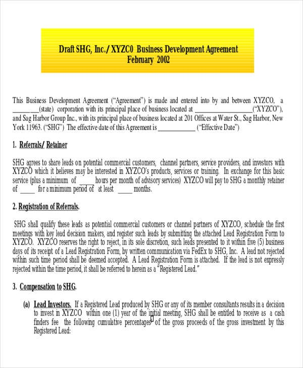 Business Development Consulting Agreement1 For Consulting Agreement Examples