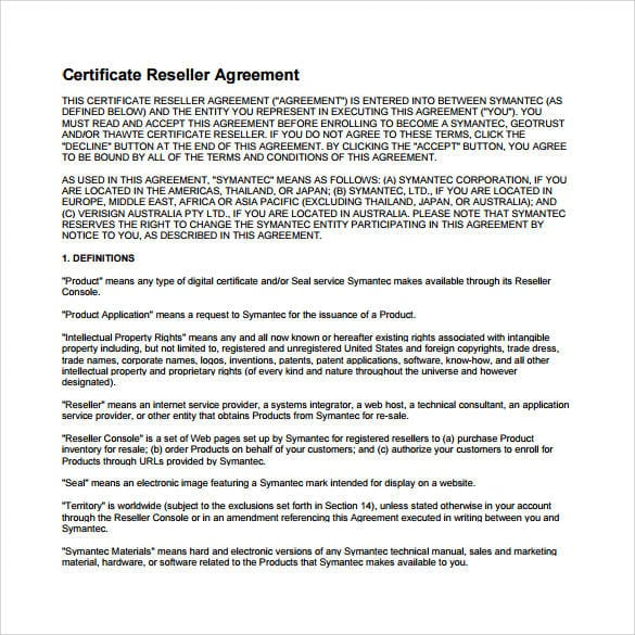 Certificate Reseller Agreement For Reseller Agreement 1