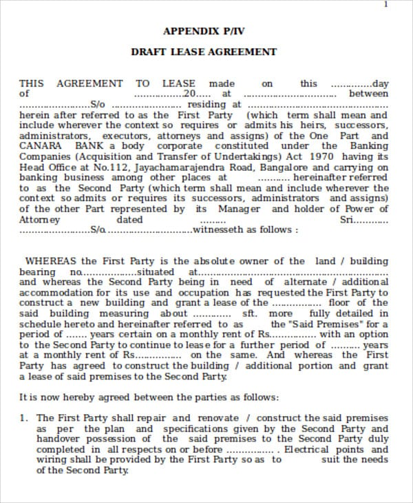 Commercial Building Lease Agreement Format For Commercial Lease Agreement In Word