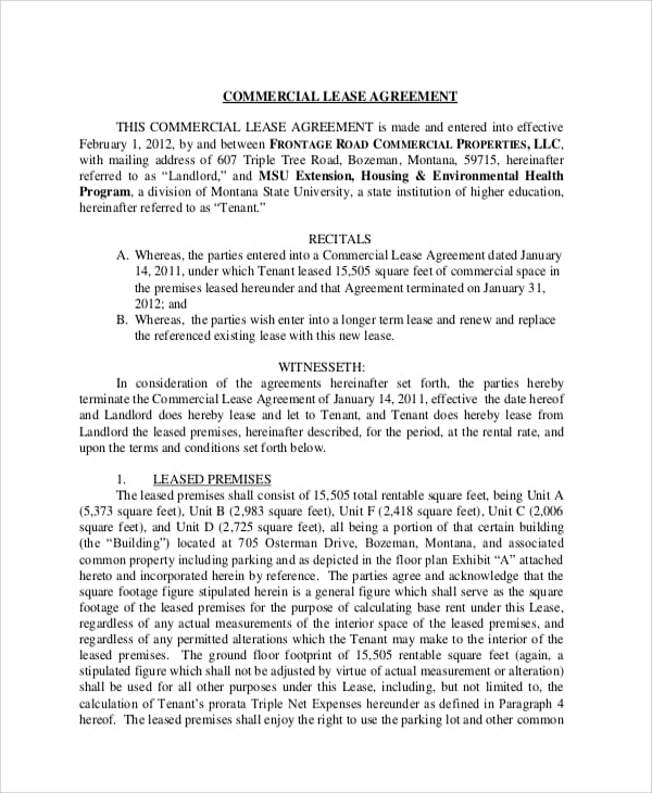 Commercial Building Lease Agreement For Sample Commercial Lease Agreements