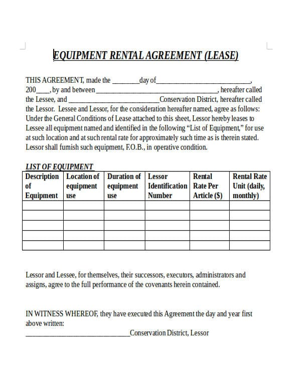 Commercial Equipment Rental Lease Agreement For Commercial Leases Agreement