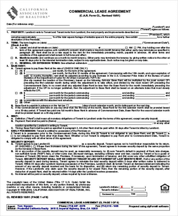 Commercial Land Lease Agreement Example For Commercial Lease Agreement Sample