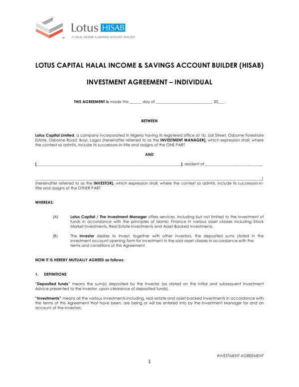 Company Investment Agreement Template For Business Investment Agreement Template Pdf Word