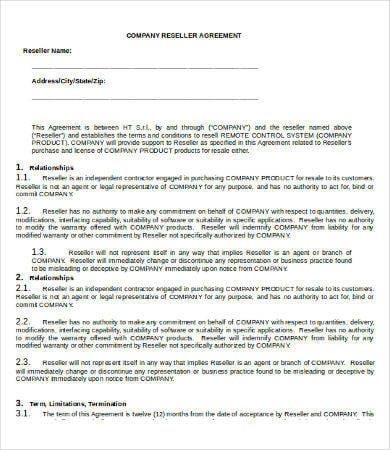 Company Reseller Agreement For Reseller Agreement 1