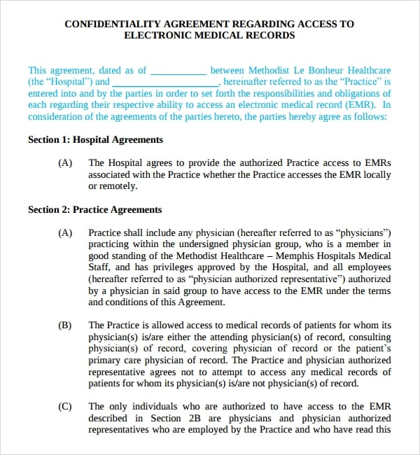Confidentiality Agreement To Medical Record For Medical Confidentiality Agreement