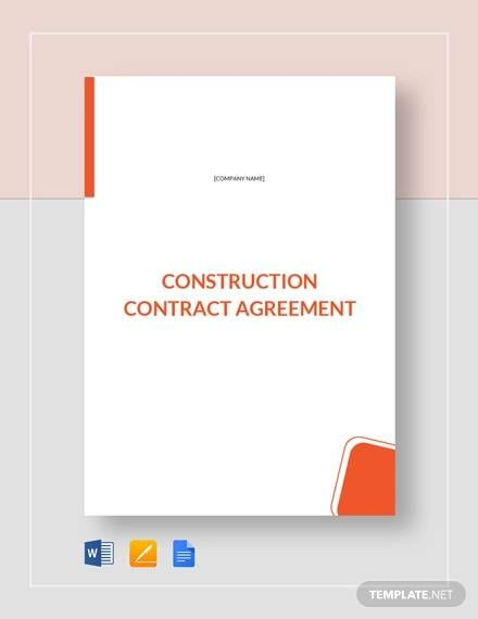 Construction Contract Agreement Template For Construction Contractor Agreement