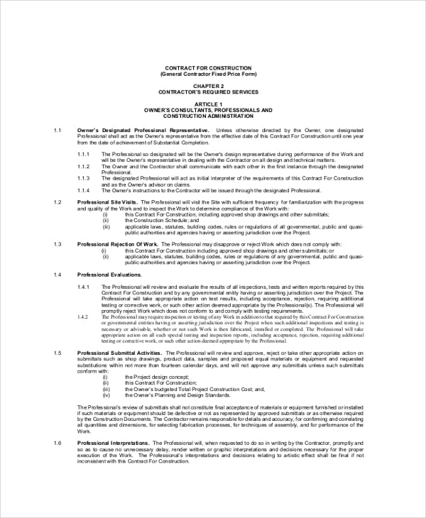 Construction General Contractor Agreement For Construction Contractor Agreement