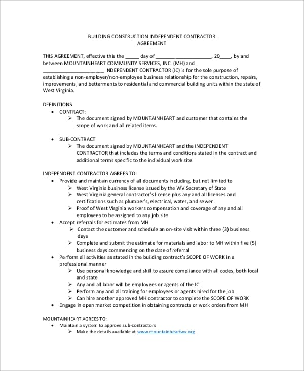 Construction Independent Contractor Agreement For Construction Contractor Agreement