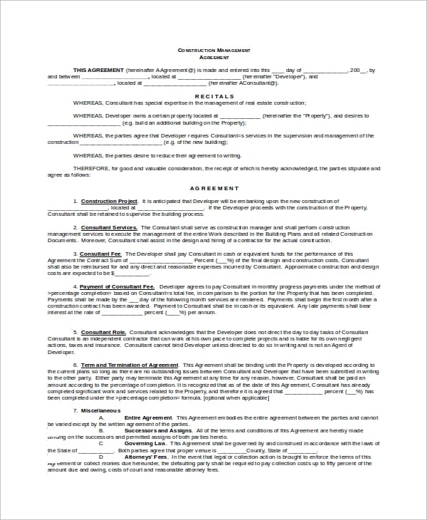 Construction Management Agreement Sample For Construction Management Agreement