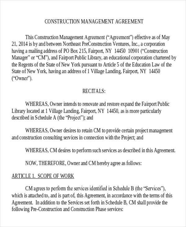 Construction Management Consulting Agreement2 For Consulting Agreement Examples