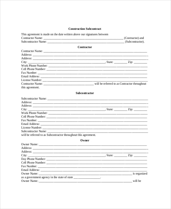 Construction Subcontractor Agreement For Construction Contractor Agreement