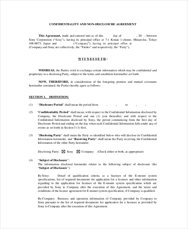 Employee Non Disclosure And Confidentiality Agreement For Sample Employee Confidentiality Agreement